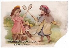 1880's*ST LOUIS MISSOURI*HEINRICH COAL CO*919 OLIVE ST*GIRLS PLAYING BADMITON