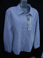 BNWT Womens Sz 16 Rivers Brand Regular Fit Navy/Stripe Long Sleeve Shirt RRP$30
