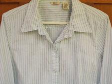 Izod Blouse Womens Shirt L 14-16 Blue Green Top Stripes Long Sleeves WS65