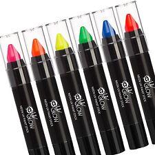 UV Glow - Neon UV Face & Body Paint Stick - Set of 6 - glows brightly under UV!