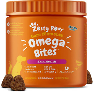 Zesty Paws Omega 3 Alaskan Fish Oil Chew Treats for Dogs 90 Count (Pack of 1)