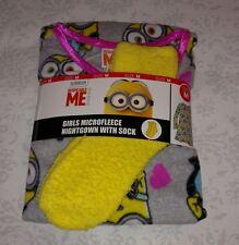 Despicable Me Minions PJs Pajamas Nightgown Socks Set Girls Microfleece Medium