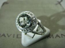 DAVID YURMAN ALBION AUTHENTIC 8MM PRASIOLITE DIAMOND RING SIZE 7  D.Y. POUCH