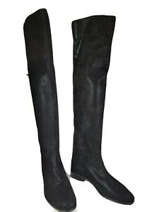 Stuart Weitzman women boots black shimmer leather over knee pull flat heel 8.5