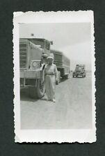 Vintage Photo Man w/ UNUSUAL SEMI TRUCK Desert 438094