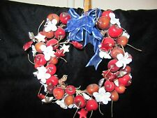 "Cherries, Cherry Blossoms & Stars Christmas Wreath - 9"" Wide"