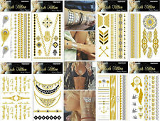 10 Sheet mix Temporary Metallic Tattoo Gold Silver Black Flash Tattoos Y