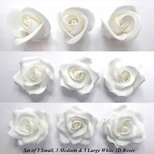 Set of 9 Small Medium & Large White 3D Sugar Roses cake decorations NON-WIRED
