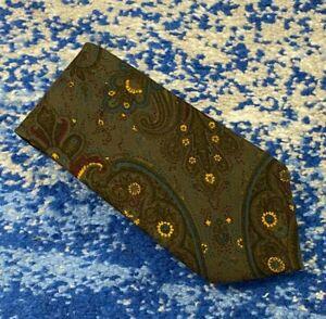 Brooks Brothers Vintage Green Raspberry Gold Teal Black Paisley Wool Necktie USA