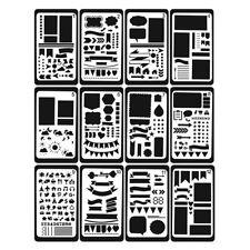 12Pcs DIY Journal Stencil Plastic Planner Stencils Drawing Template Stencil Gift