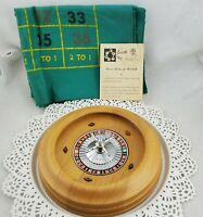 Vintage Pacific Game Wood Roulette Wheel, Printed Felt, Ball, Booklet Rules