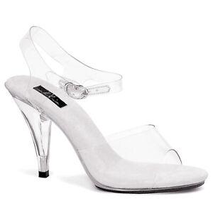 "Ellie Shoes Clear Ankle Strap Halloween Costume Sandals 4"" Heels 405-BROOK"