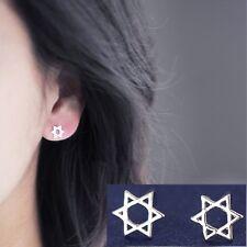 New - Silver Jewish Star of David Ear Stud Earrings - Gift - Present