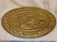 Vintage Brass Large Oval Wall Plate by Peerage Vintage Scene In Good Condition