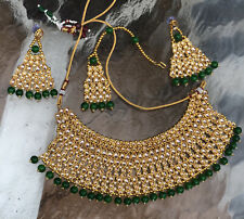Ethnic Bollywood Fashion Kundan Jewelry Gold Plated Indian Pearl Necklace Set