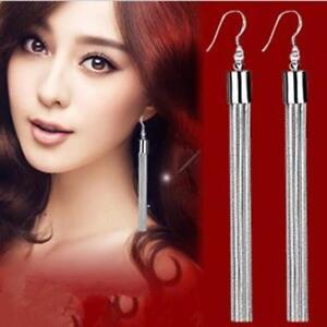 925 Sterling Silver Long Drop Dangle Tassel Earrings Ear Stud Jewelry Women  UK