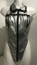Silver PVC Leotard Size 14 Zip front, peepholes, Zip Crotch All In One Teddy