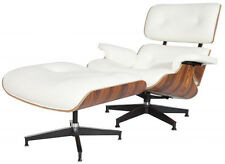eMod Eames Style Lounge Chair & Ottoman Aniline Leather White Palisander