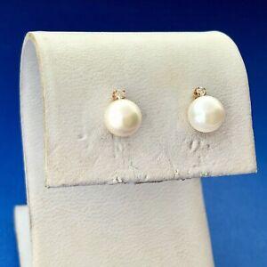 Elegant 14K Yellow Gold Pearl Diamond Wedding Bridal Anniversary Stud Earrings