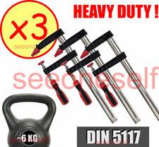 3x HEAVY DUTY F-CLAMP STEEL BAR SET, DIN 5117, 400mm x 120mm,  ~2KG HEAVY EACH !