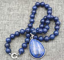 10mm Natural Egyptian Lapis Lazuli Gemstone 28x36mm pendant Necklace 18'' AAA