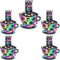 Beads Cage Charm Tea Cup Rainbow Color Diffuser Locket 5X-C942