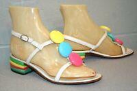 6.5 M Vtg 60s MOD 3-Button FLOWER POWER Slingback Stack Heel Sandal Shoe 1970s