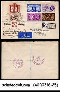 GREAT BRITAIN 1949 75th ANNIV. OF UPU UNIVERSAL POSTAL UNION 4V FDC REGISTERED