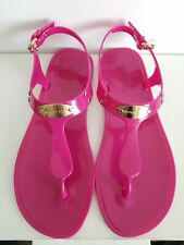 MICHAEL KORS MK PLATE ICONIC FUSCHIA JELLY LOGO THONGS 8 I LOVE SHOES AS IS MARK