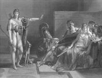 Greek Mythology HANDSOME GREEK BOY MAN REBUKES QUEEN ~ 1882 Art Print Engraving
