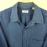 Barneys New York Mens Shirt Sz XL Plaid Check Button Down Blue Black Long Sleeve