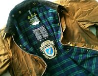 *HOT Men BARBOUR A1600 BEAUFORT WAXED Cotton PLAID LINED BROWN COAT JACKET C46 L