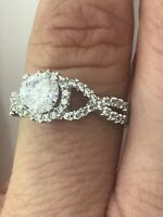 14k White Gold 2 Carat Round Cut Halo Split Shank Engagement Ring Bridal