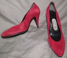 Classic Metal Chic RED SUEDE leather high heel pumps CONNIE 7 B Vintage 1980s