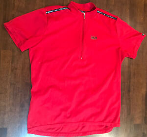 Louis Garneau LG Women's Red Cycling Bike Jersey Shirt  Medium 1/4 Zip Pockets