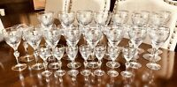 29 crystal stemware with silver Trim And Silver Etched Flowers