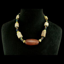 Cambodian mixed bead necklace, carnelian, fossilised coral and glass x9963
