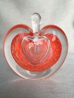 Studio Art Glass Michael Nourot Style Heart Apple Shape Perfume Bottle & Dropper