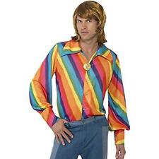 70's Rainbow Disco Shirt Men's Poly Multi Stripe Wide Collar Costume Shirt Med