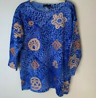 Viva Images Women's Tunic Top Size XL Casual Cotton Blue Gold Long Sleeves