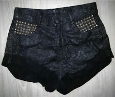 Black Leather studded shorts/ silver studs festival summer by Black Heart - RARE