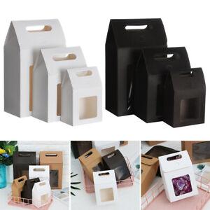 6Pcs Kraft Paper Bag Candy Wrapping Bag Wedding Favors Clear PVC Window Gift Box
