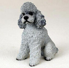 Poodle Figurine Hand Painted Statue Gray Sportcut