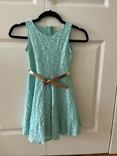 Girls Dress - size 7 - Tiffany Blue - Lace Overlay - Excellent Condition