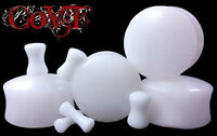 "Pair 8g-1"" Snow Jade White Plugs Solid Saddle Tunnels Organic Stone Ear Gauges"
