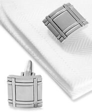 $70 Kenneth Cole Mens Silver Rhodium Cufflinks Formal Wedding Dress Wrist Cuffs
