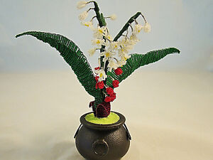HANDMADE MINI LILY OF THE VALLEY PLANT IN CAULDRON MAGICAL PLANT COLLECTION AUS
