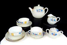 """JAPANESE PORCELAIN PINK FLORAL BLUE LEAVES 11 PIECE 3 3/8"""" CHILDS TEA SET 1920-"""