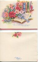 VINTAGE PINK GARDEN FLOWERS PEONIES VICTORIAN GIRL BOOKEND PRINT 1 FRIEND CARD