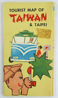 Vintage 1950s Imperial Hotel TOURIST MAP OF TAIWAN, TAIPEI China Travel Souvenir